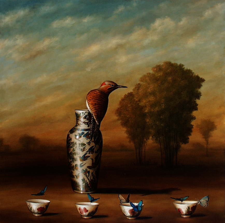 David Kroll - Vase and Four Cups,1998, oil on linen, 30 by 30 inches