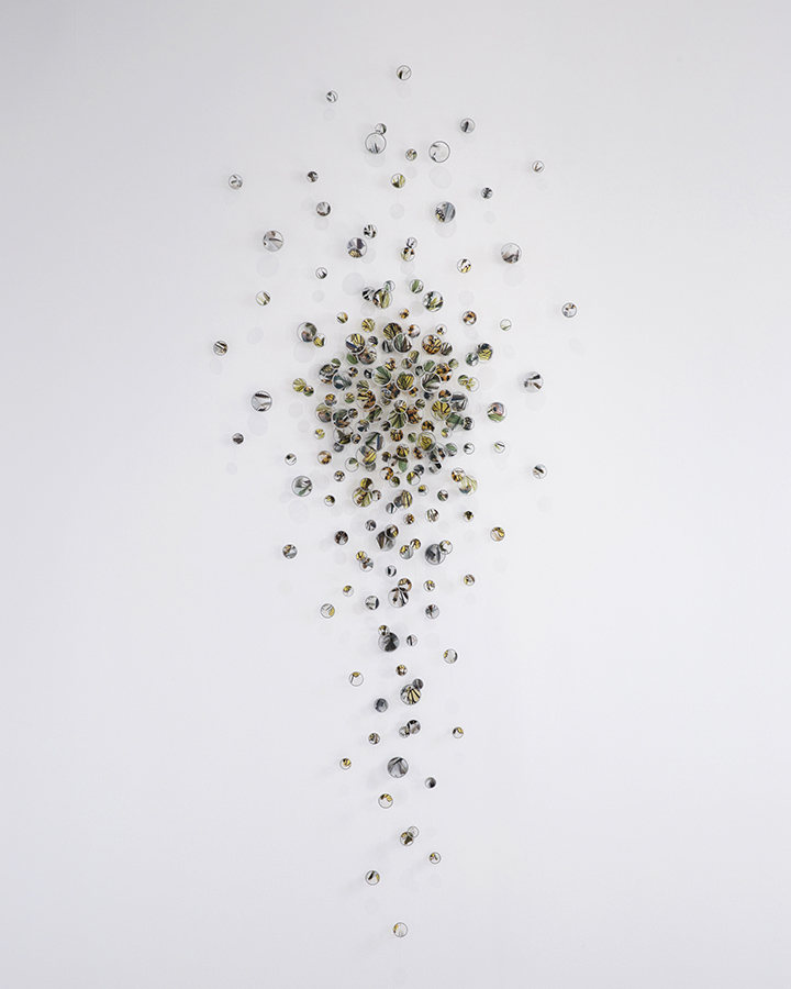 Alan Bur Johnson - a flock, a swarm, 2020, photographic transparencies, metal frames, dissection pins, 93.5 x 39 x 2 inches
