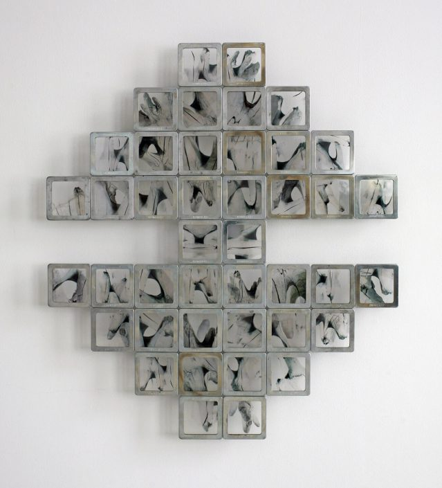 Alan Bur Johnson - Murmur: Cinquain, 2012, steel, glass, photographic transparencies, 24.75 by 22 by 1.25 inches