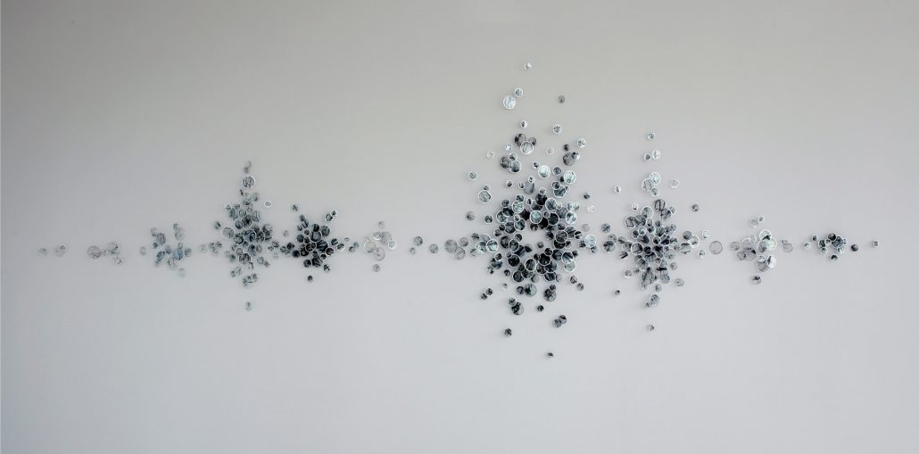 Alan Bur Johnson - Cadence (SOLD), 2010, 334 photographic transparencies, metal frames, dissection pins, 51 by 146 by 2 inches