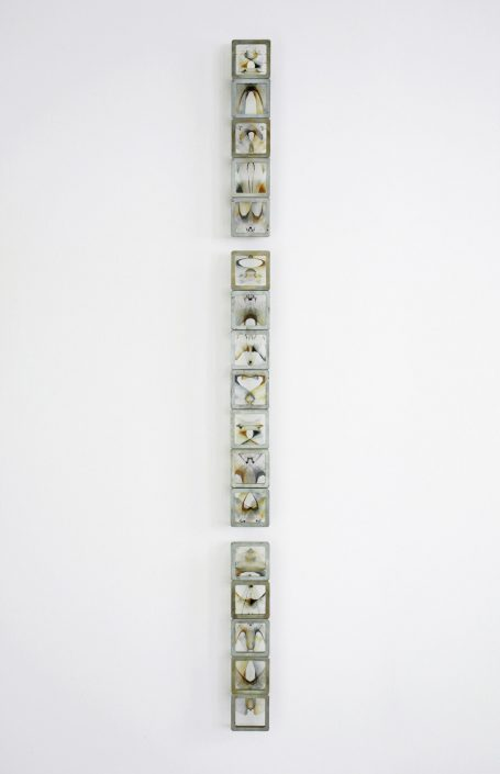 Alan Bur Johnson - Murmur: Haiku, 2012, steel, glass, photographic transparencies, 48 by 2.75 by 1.25 inches