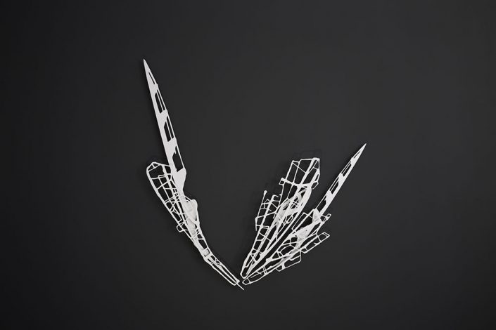 Alan Bur Johnson - Push the Sky 151, 2017, aluminum, white powder coat, 54 by 52.5 by 2.25 inches