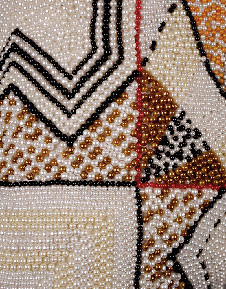 Angela Ellsworth - Pantaloncini: Work No. (indeterminate stillness) (Emma) (detail), 2017, 39,722 pearl corsage pins and colored dress pins, fabric, steel, 26 by 26 by 13 inches
