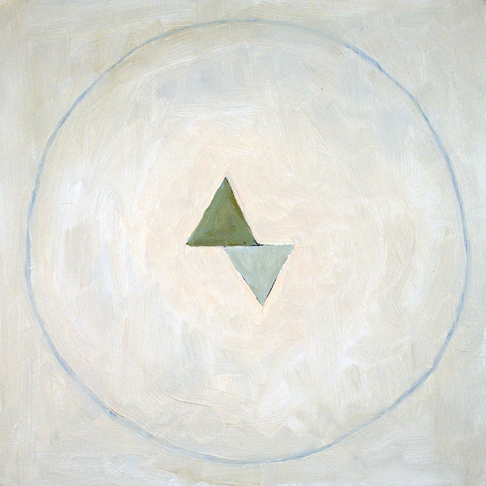 Angela Ellsworth - Pause II (Six Point Green for Hilma)(SOLD), 2017, oil on board, 12 by 12 inches