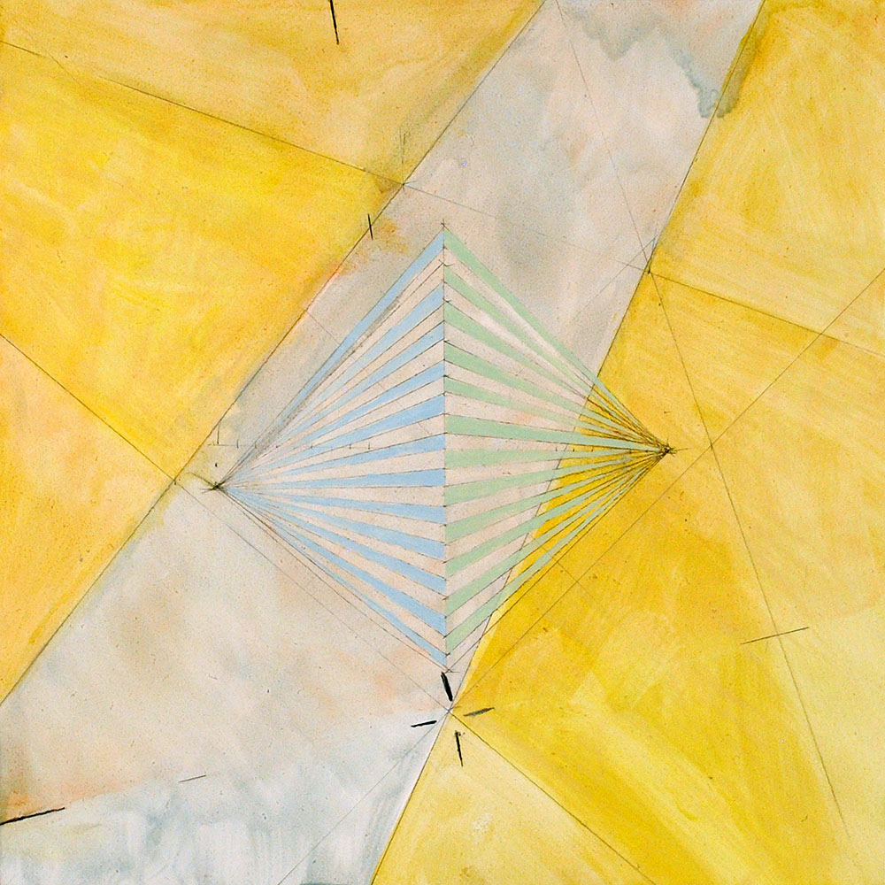 Angela Ellsworth - Pause IX (Out of yellow), 2017-2018, oil and graphite on board, 12 by 12 inches
