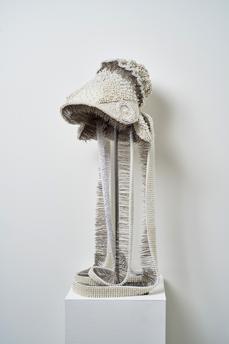 Angela Ellsworth - Seer Bonnet: Diana (Age 17), 2016-2018, 18,960 pearl corsage pins, fabric, steel, 30 by 11.5 by 13 inches