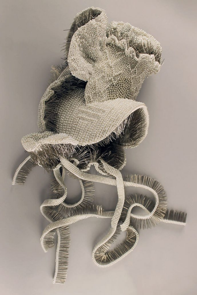 Angela Ellsworth - They Long to Be, 2015, 26,477 pearl corsage pins, fabric, steel, 18 by 27 by 13 inches