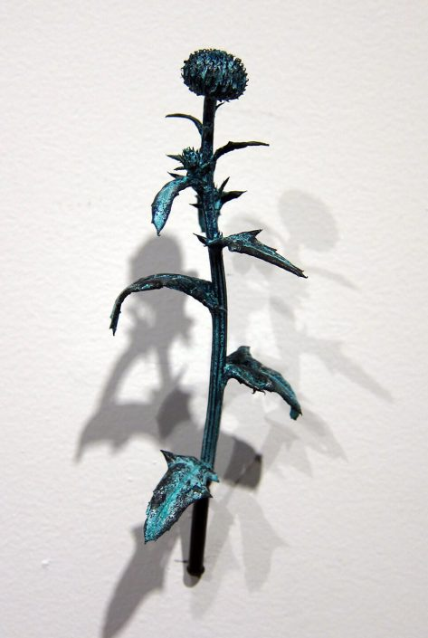 Beverly Penn - Thistle (SOLD), 2014, cast bronze, 5 by 1.5 by 1.5 inches