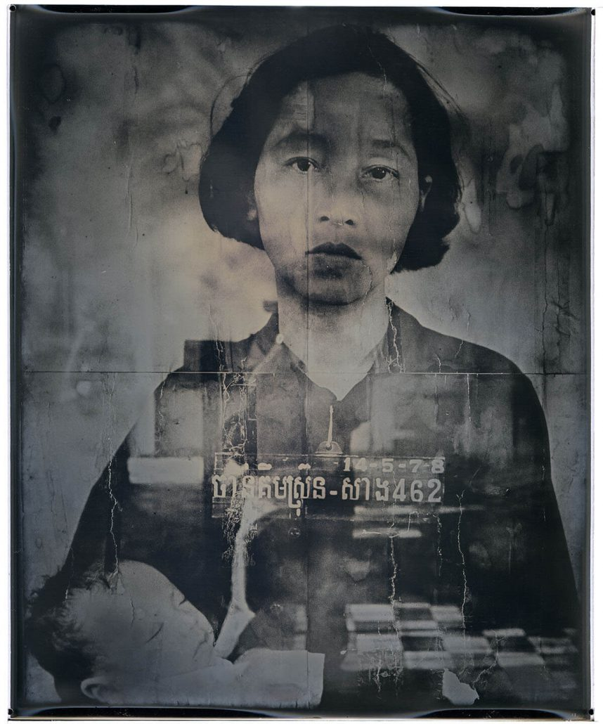 Binh Danh - Mother and Child, Tuol Sleng Genocide Museum, Cambodia, 2015, daguerreotype, 16 by 13.5 inches framed