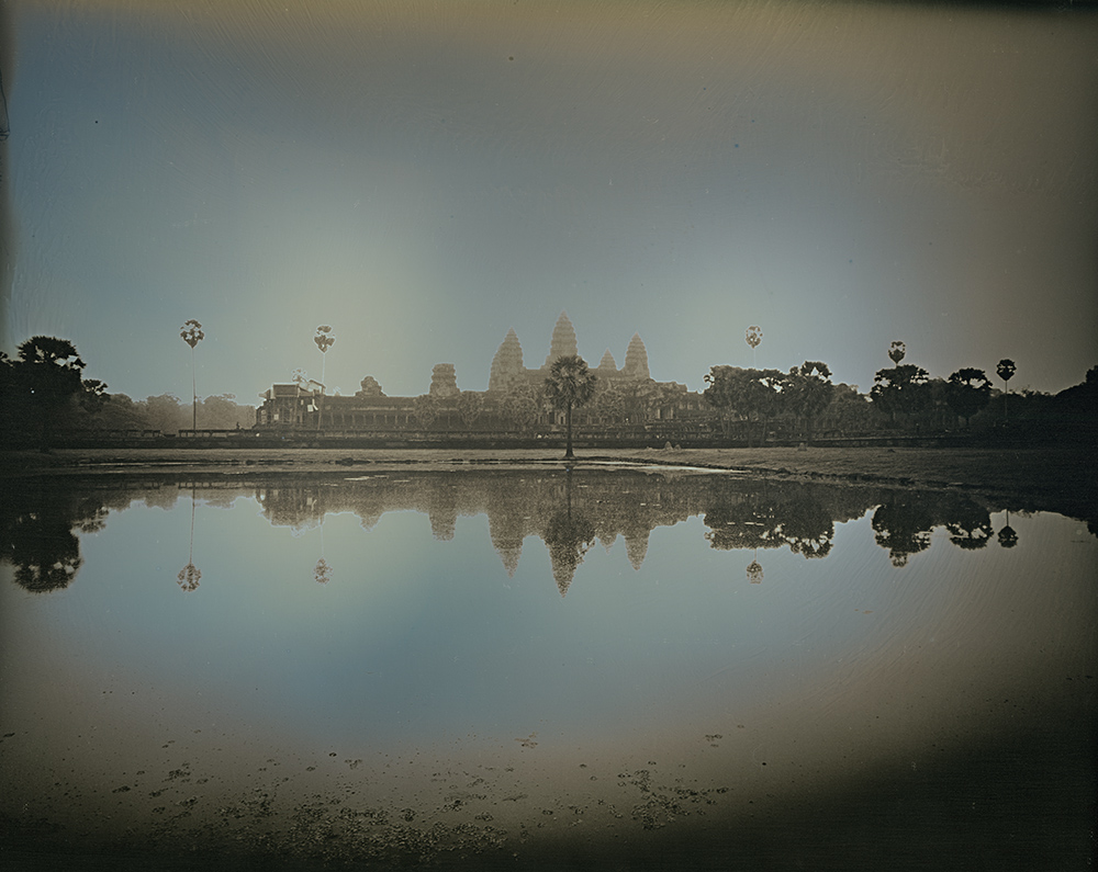 Binh Danh - Reflection of Angkor Wat Temples, Siem Reap, 2017, daguerreotype (exposed from an enlarger), 10 by 12 inches / 15 by 16.75 inches framed, edition of 3