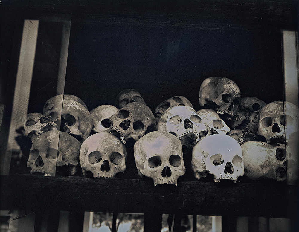 Binh Danh - Skulls at Choeung Ek Genocidal Center, 2017, daguerreotype (exposed from an enlarger), 8 by 10 inches / 13 by 14.75 inches framed, edition of 3