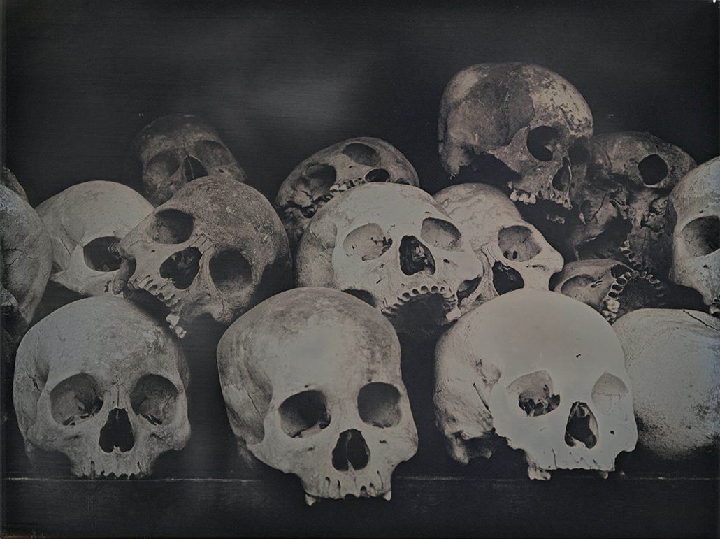 Binh Danh - Skulls of Choeung Ek, Cambodia, 2015, daguerreotype, 9.5 by 12 inches framed
