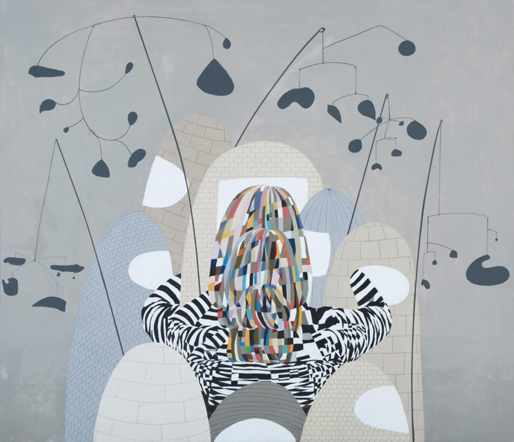 Carrie Marill - Calder Crowd (SOLD), 2014, acrylic and graphite on linen, 38 by 44 inches