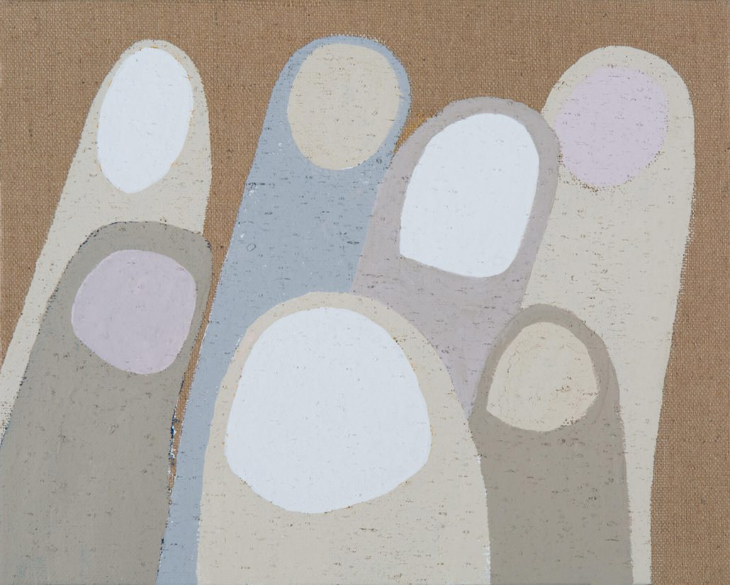 Carrie Marill - Crowd, 2014, acrylic on Jute, 16 by 20 inches