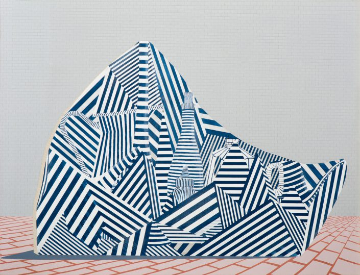 Carrie Marill - Dishberg (SOLD), 2014, acrylic and graphite on linen, 44 by 58 inches