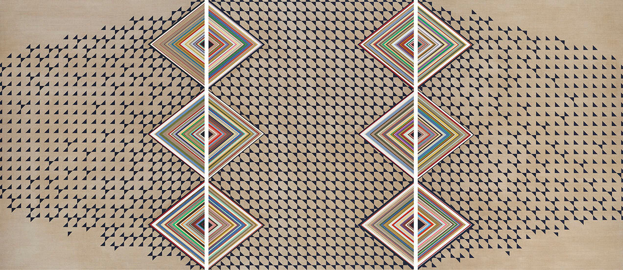 Carrie Marill - The Gateless Gate (SOLD), 2016, acrylic on linen, triptych: 58 by 44 inches each panel