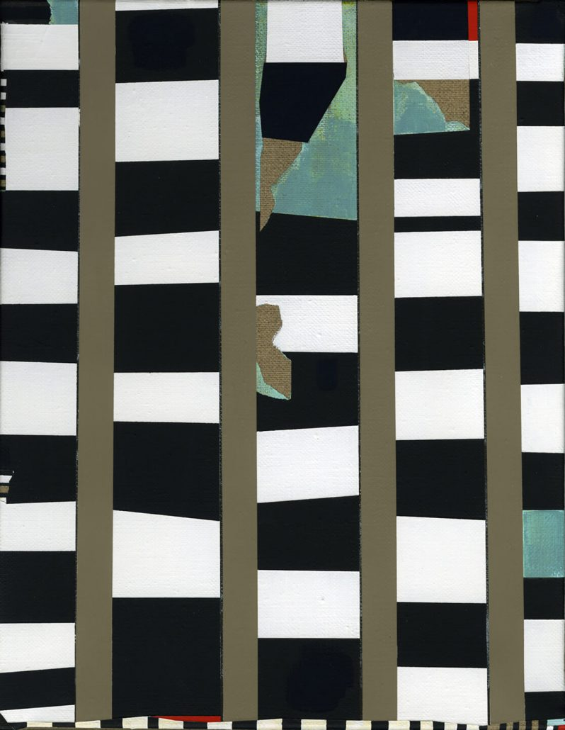 Carrie Marill - Striped Shack, 2013, acrylic on linen, 14 by 11 inches