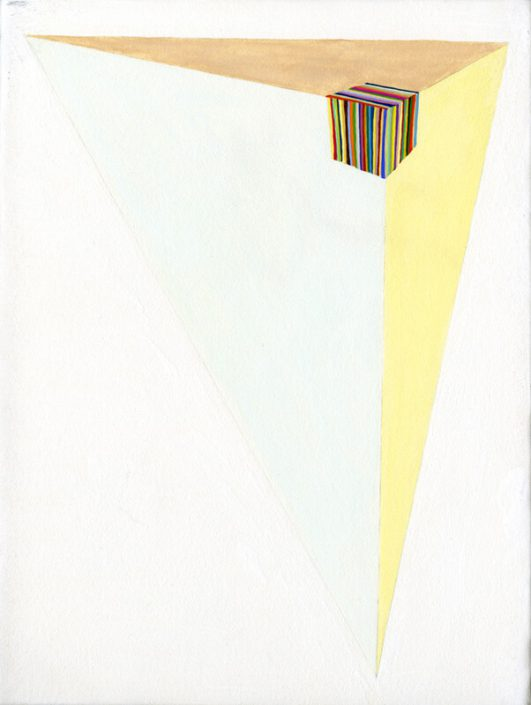 Carrie Marill - Triaxial Perspective, 2008, egg tempera and gouache on stretched paper, 9.5 by 7.5 inches framed