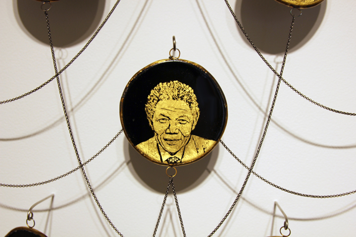 Charlotte Potter - Gilded Saints (detail), 2020, gold, silver, hand engraved glass, steel chain