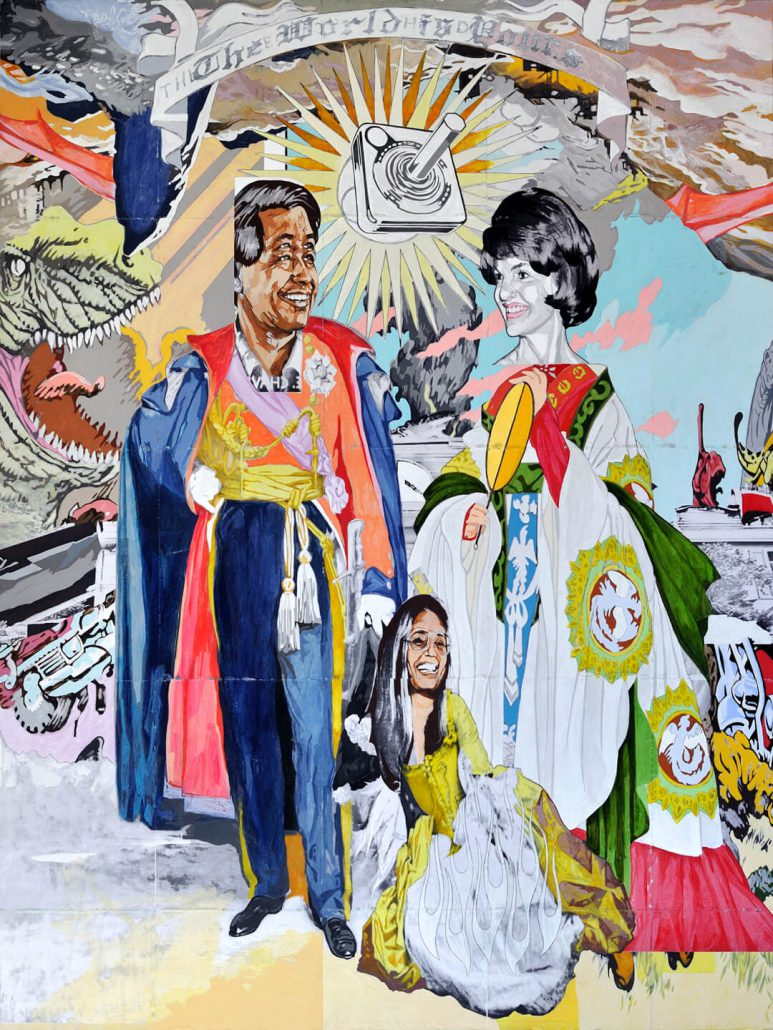 Claudio Dicochea - de la Jacqueline y el Cesar, la Gloria (of Jacqueline and Cesar, G-L-O-R-I-A) (SOLD), 2010, acrylic, graphite, charcoal, transfer, wood, 48 by 36 inches