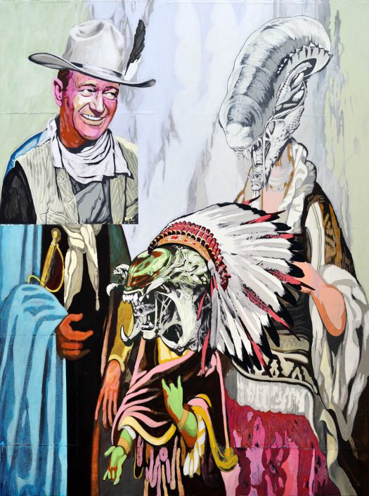 Claudio Dicochea - de la Gran Madre y un Duke, la Hibrida (of the Great Mother and a Duke, the Hybrid), 2010, acrylic, graphite, charcoal, transfer, wood, 48 by 36 inches