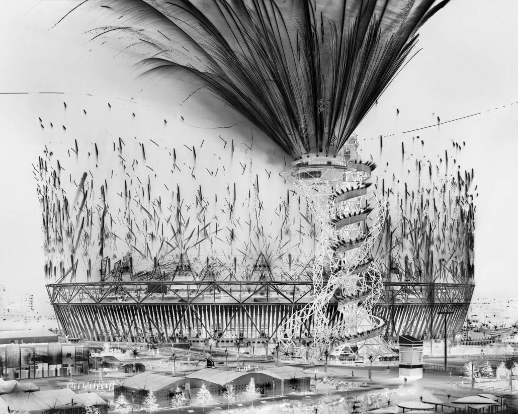 Damion Berger - Opening Ceremony I, Olympic Stadium, London, 2012, pigment ink print on Baryta paper, Diasec mounted in artist's frame, 53 by 66 inches unframed