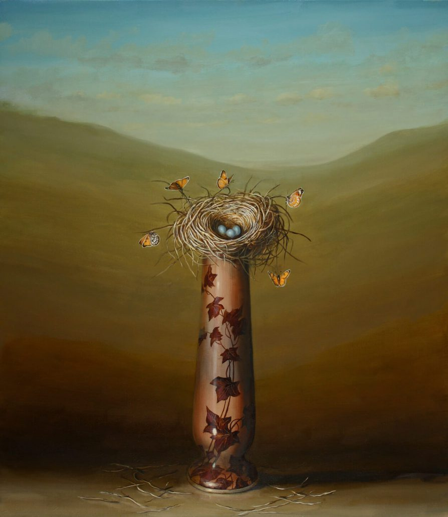 David Kroll - Vase and Nest, 2011 oil on linen, 32 by 28 inches