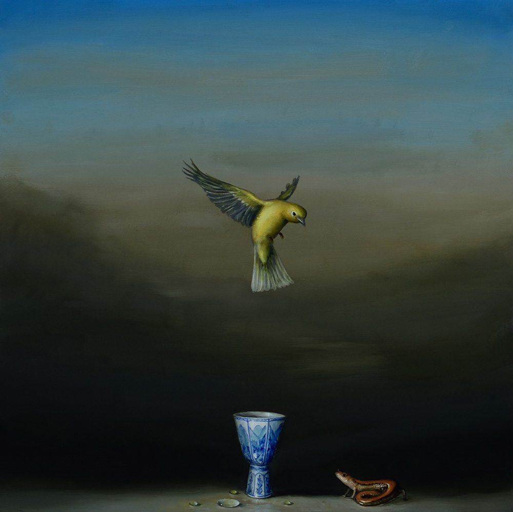 David Kroll - Blue Cup (SOLD), 2017, oil on panel, 20 by 20 inches