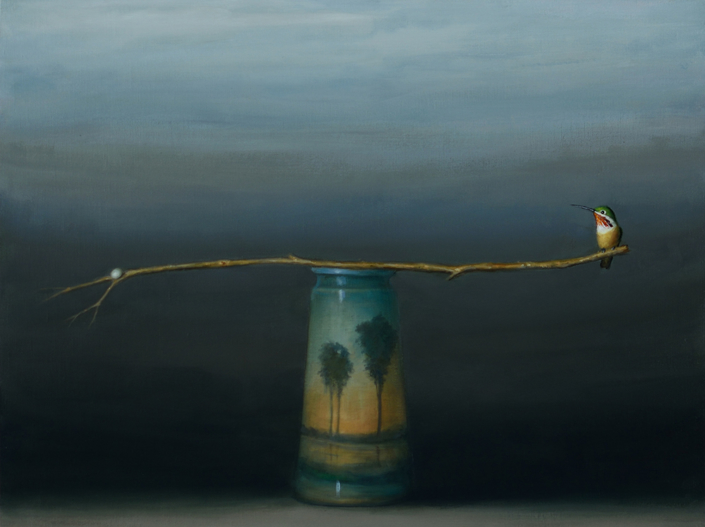 David Kroll - Landscape (Branch and Vase) (SOLD), 2020, oil on linen, 18 by 24 inches