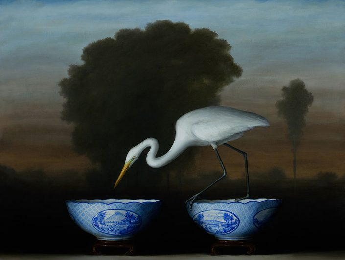 David Kroll - Egret and Blue Bowls (SOLD), 2017, oil on linen, 38 by 50 inches
