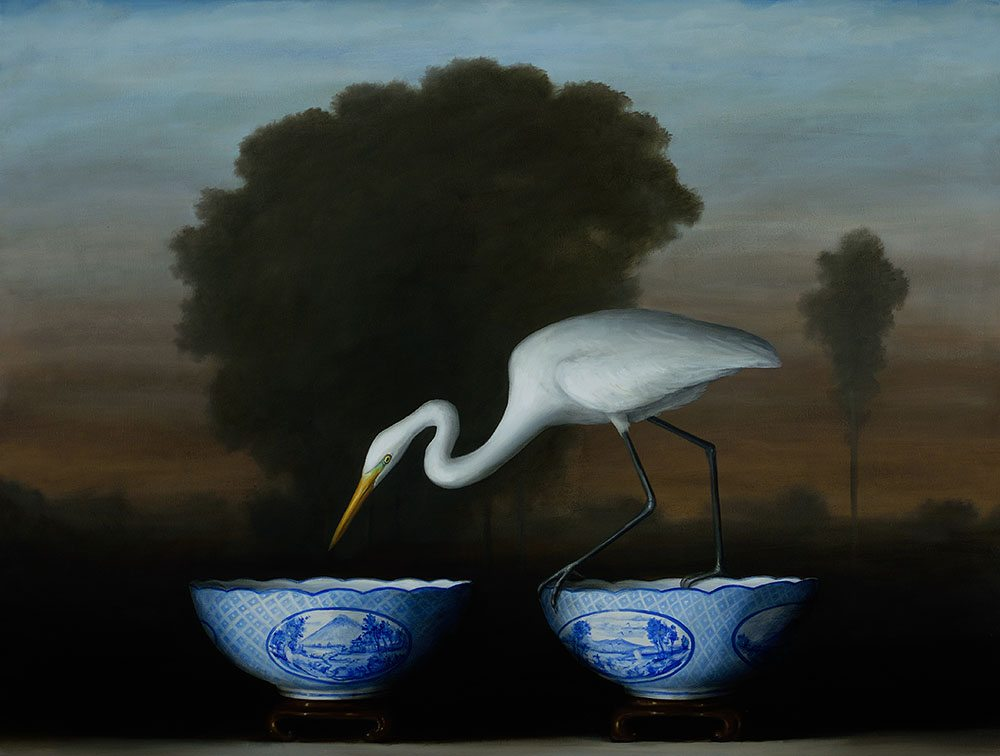 Egret and Blue Bowls