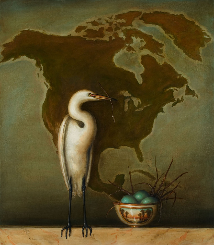 David Kroll - Egret and Bowl, 2005, oil on linen, 32 by 28 inches