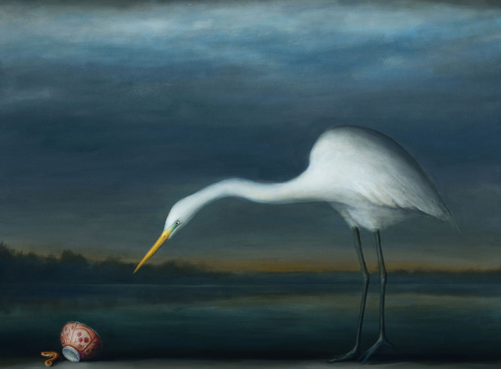 David Kroll - Egret and Salamander (SOLD), 2020, oil on linen, 29 x 39 inches