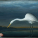 David Kroll - Egret and Salamander, 2020, oil on linen, 29 x 39 inches