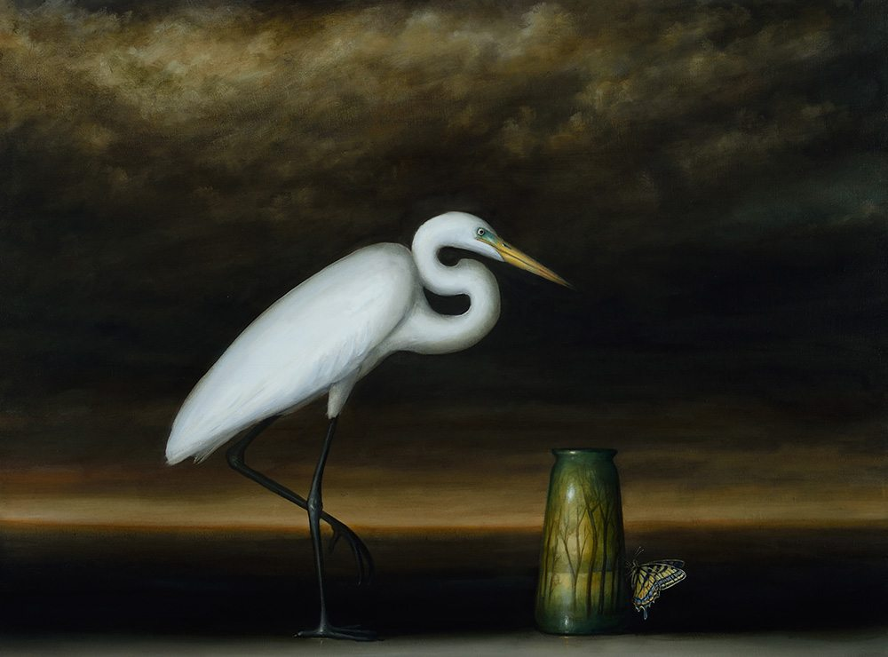 David Kroll - Egret and Landscape Vase (SOLD), 2017, oil on linen, 29 by 39 inches