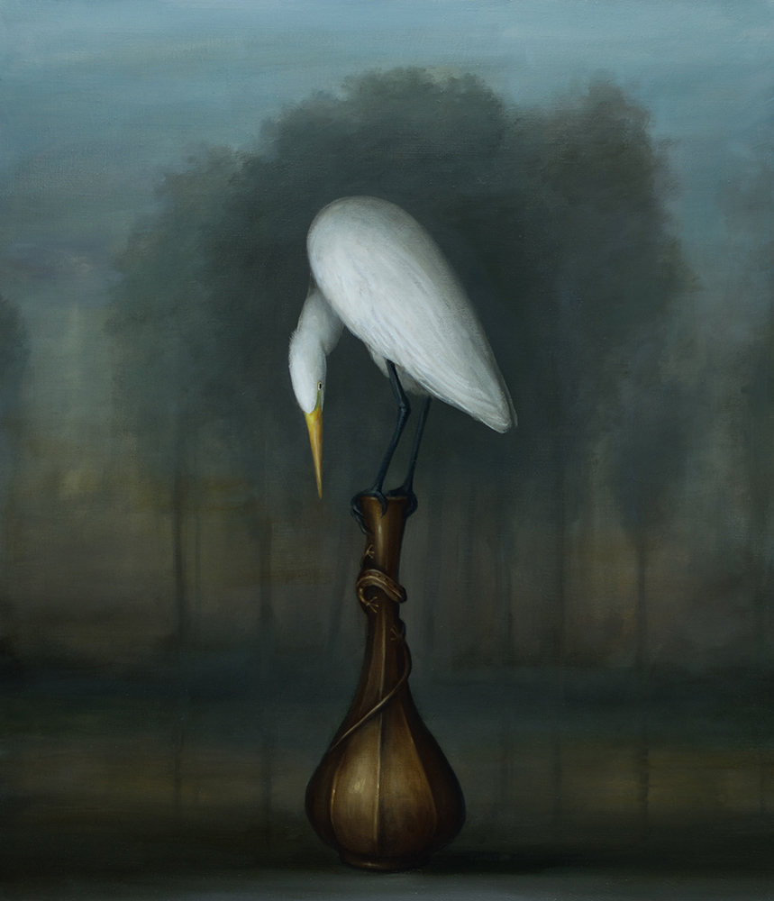 David Kroll - Landscape (Egret and Bronze Vase)(SOLD), 2020, oil on linen, 32 by 28 inches