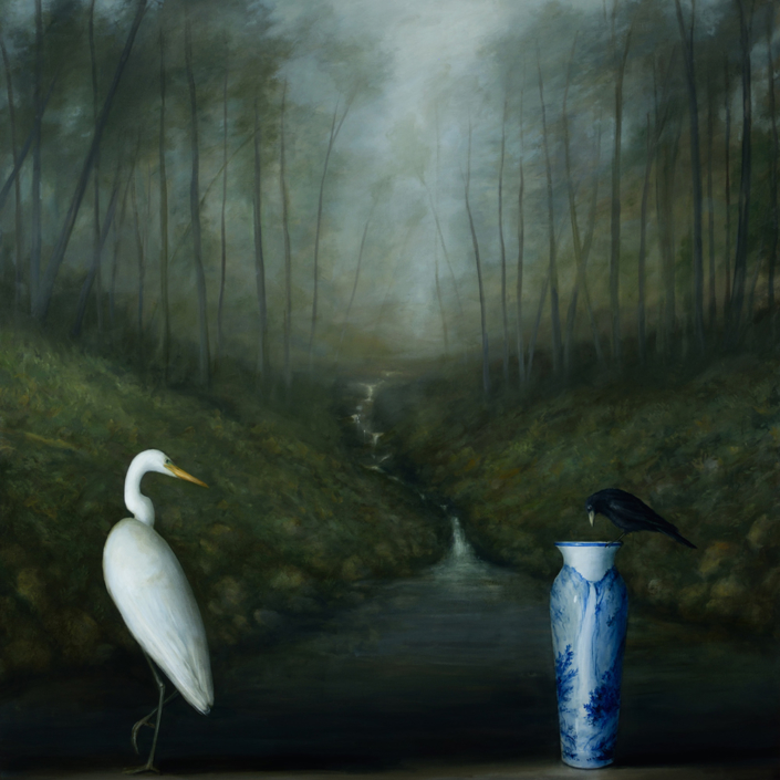 David Kroll - Woodland Landscape (Egret and Crow) (SOLD), 2020, oil on linen, 58 by 58 inches