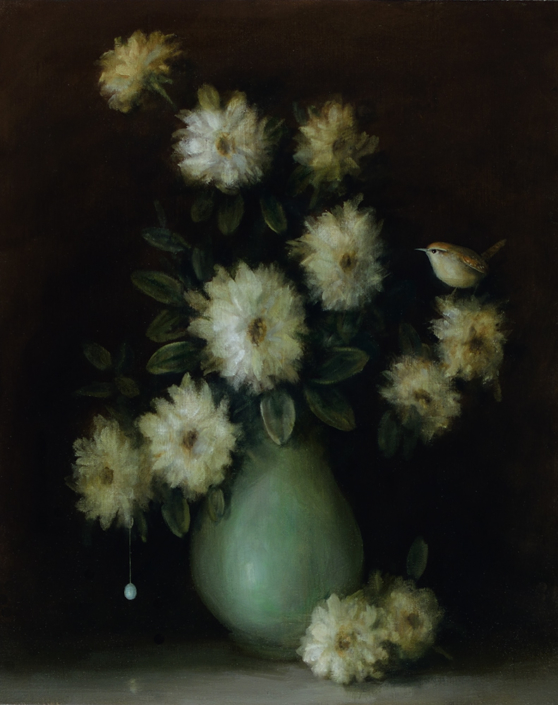David Kroll - Floral Still Life (Wren and Vase), 2020, oil on linen covered panel, 20 x 16 inches