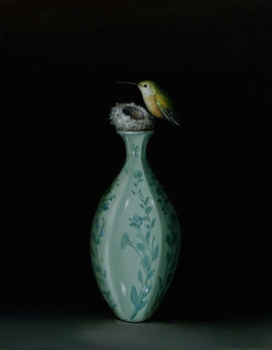 David Kroll - Hummingbird (SOLD), 2017, oil on panel,, 11 by 14 inches