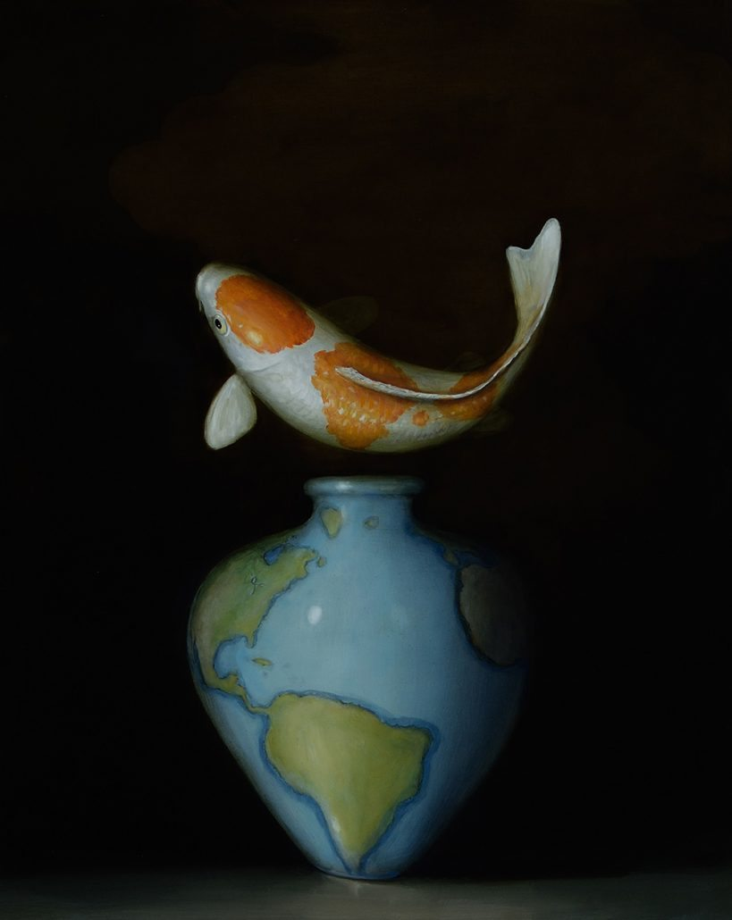 David Kroll - Koi and Map Vase, 2017, oil on panel, 20 by 16 inches