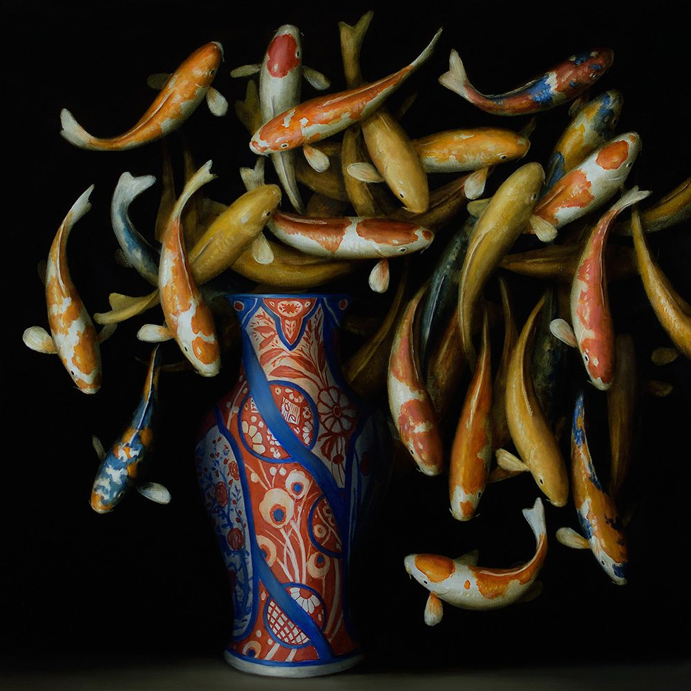 David Kroll - Koi and Red and Blue Vase, 2017, oil on linen, 40 by 40 inches