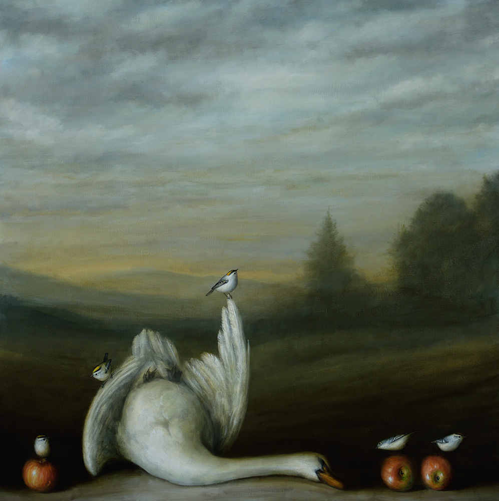 David Kroll - Landscape (Swan), 2020, oil on linen, 40 x 40 inches