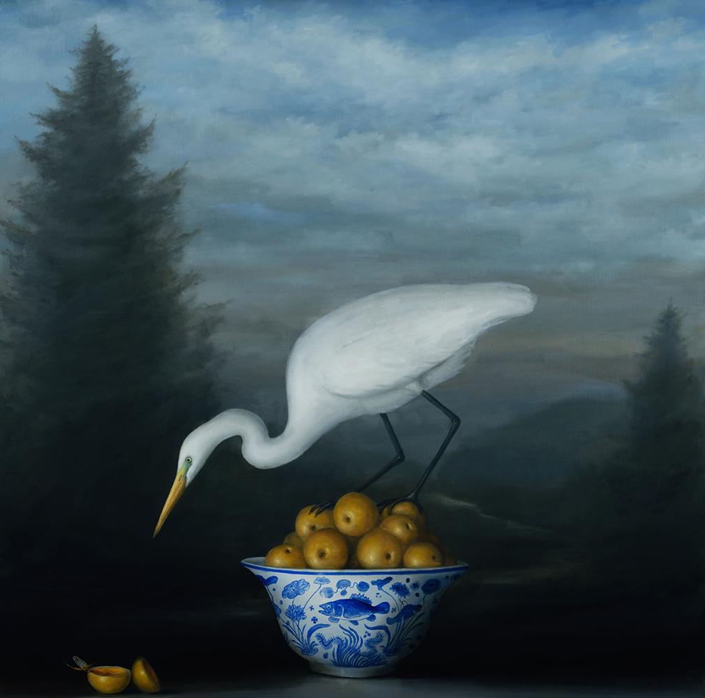 David Kroll - Landscape (Egret and Oranges), 2021, oil on linen, 40 x 40 inches
