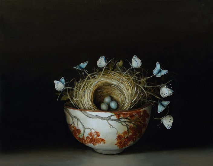 David Kroll - Nest and Butterflies (SOLD), 2017, oil on panel,, 11 by 14 inches
