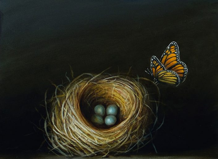 David Kroll - Nest and Monarch (SOLD), 2017, oil on treated paper, 8.5 by 11.5 inches (image size), 10 by 13 inches (paper size)