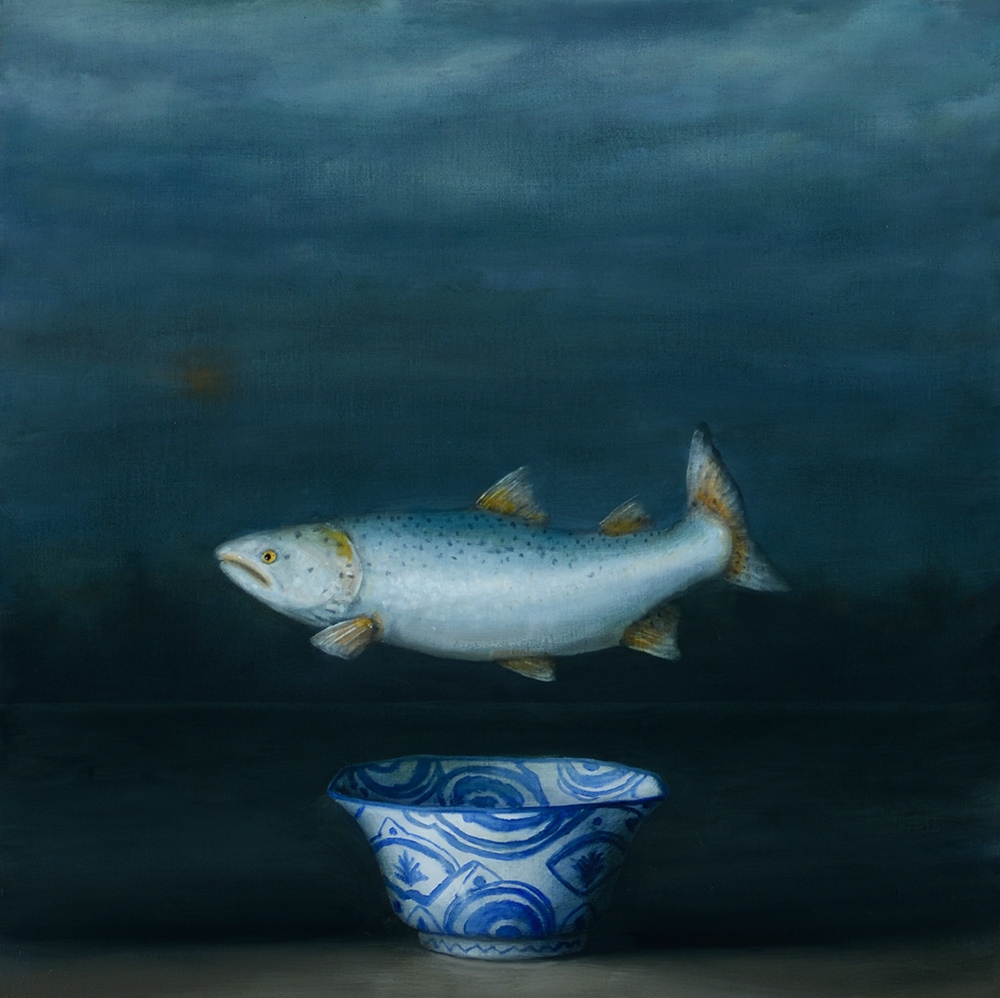 David Kroll - Seascape (Salmon) (SOLD), 2020, oil on linen covered panel, 20 x 20 inches