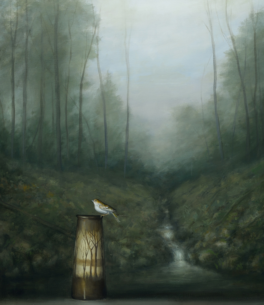David Kroll - Woodland Landscape (Sparrow and Vase)(SOLD), 2020, oil on linen, 32 by 28 inches