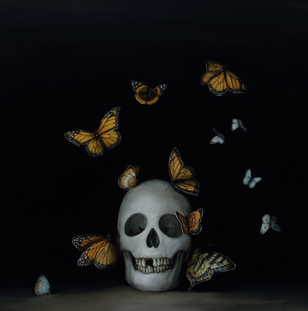 David Kroll - Still Life with Butterflies (SOLD), 2017, oil on panel, 18 by 18 inches