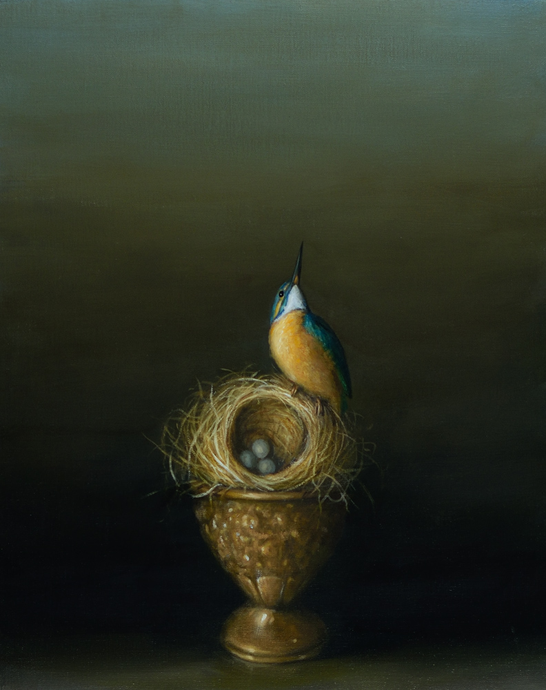 David Kroll - Still Life (Kingfisher) (SOLD), 2020, oil on linen covered panel, 20 x 16 inches