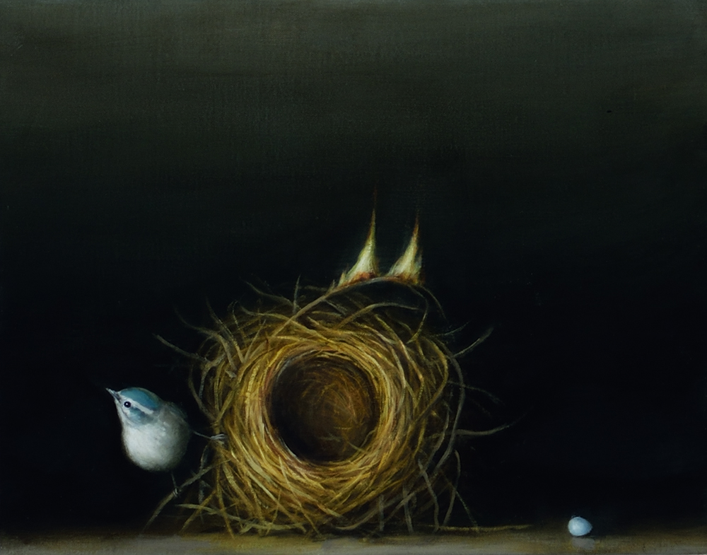 David Kroll - Still Life (Nest), 2020, oil on linen covered panel, 11 x 14 inches